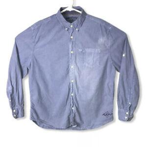 100% Linen Button Shirt Large Long Sleeve Navy Blue Margaritaville