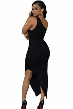 Abito Zip aperto nudo aderente Svasato Spacco Zipped Slit Skin Dress clubwear M