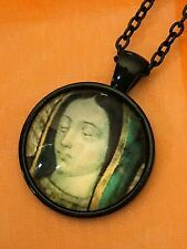 Virgin Mary Antique Look Glass Cabochon Dome Pendant Necklace. Hand Made. NEW