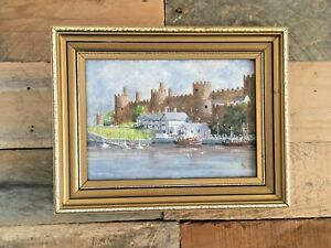GORGEOUS SMALL ORIGINAL SIGNED G LAWTON PAINTING OF CONWY CASTLE NORTH WALES