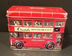 Churchill Churchill's Confectionery Bank Money Tin Box London Double Decker Bus