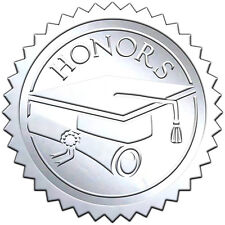 "Elegant SILVER embossed foil certificate seals ""HONORS"" - 50 pack"