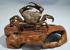 Japanese Patinated Bronze Realistic Model Of a Crab Wooden Plinth