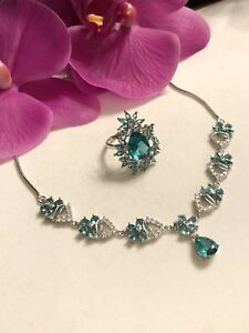 Sterling Silver.925 Aquamarine Necklace And Ring Set
