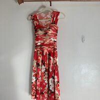WOMEN'S RED, ORANGE, BLACK PRINT DRESS - SANGRIA - SIZE 4 - Midi Dress