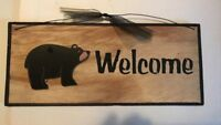 Black Bear WELCOME country primitive farmhouse lodge cabin decor wooden sign