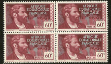 1944 VICHY FRANCE PIERRE DE BRAZZA AFRICA EXPLORER BLOCK OF 4 STAMPS PÉTAIN ISSU
