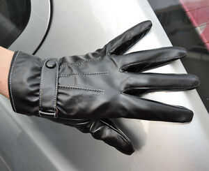 Men's PU Leather Touch Screen Wrist Gloves Driving Gloves 3 Lines Black M-XL