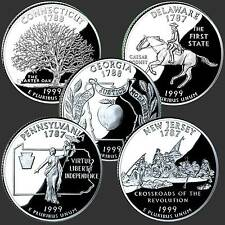USA Quarter Dollar Reine Serie 1999 D 5 Münzen #