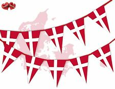 Denmark Full Flag Patriotic Themed Bunting Banner 15 Triangle flags National