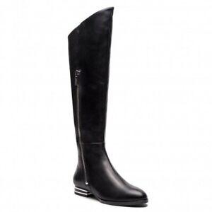 BNIB DKNY WOMEN'S BLACK LEATHER OVER THE KNEE BOOTS UK 5 US 7.5 EU 38 RRP £299