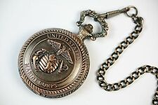 US Marine Corps Embossed Emblem Pocket Watch Soldier Copper Case PWUS023