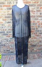 BEAUTIFUL JKARA SEQUIN HEAVY BEADED SEE THROUGH COVER DRESS WRAP BLACK SIZE 18