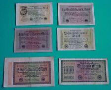 6 BANKNOTEN / INFLATIONS - GELDSCHEINE / REICHSBANK / WEIMARER REPUBLIK / Pack 2