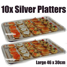 10 Quality 46x30cm Plastic Silver Sandwich Platter Party Food Serving Trays Sil