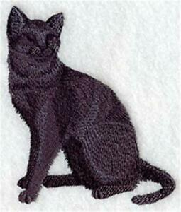 """Machine Embroidered Short Hair Cat Silhouette Applique Size 2.49"""" x 2.86"""""""