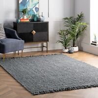 nuLOOM Hand Made Natural Jute Area Rug in Solid Grey-Green Sage Color