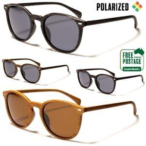 Polarised Sunglasses - Mens / Womens - Round Frame - Wood Grain Print- Polarized