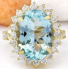 7.84 Carat Genuine Aquamarine 14K Solid Yellow Gold Luxury Diamond Ring