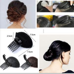 2x Invisible Hair Volume Increase Bun Maker DIY Fluffy Puff Sponge Pad Clip Comb
