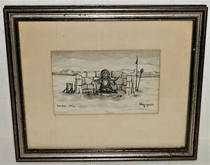 George Twok Aden Ahgupuk Pen Ink Drawing  Caribou Skin Framed Eskimo Signed Art
