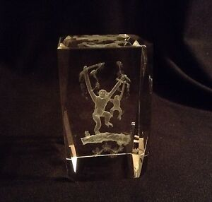 Solid Crystal Glass Cube Paperweight 3D Laser Etched Monkey and Baby