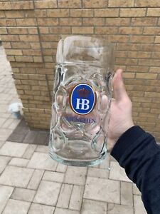 HB Hofbrauhaus Munchen  1L Dimpled Glass Beer Stein Mug