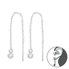 925 Sterling Silver CZ Double Circle Bar Threader Thread Earrings