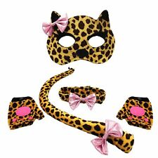Girls Kids Leopard Kitty Cat Set Costume Mask Party Tail Collar Bow Paw Gloves