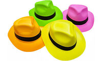 Novelty Place 12/24 Neon Plastic Party Hats Birthday Party Favor Gangster Fedora