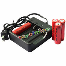 4x 18650 4.2V UF Li-ion 6000mAh Rechargeable Battery for LED Torch + Charger