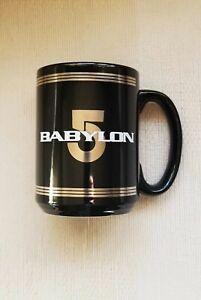BABYLON 5 Station Logos Ceramic Black Coffee Mug Cup RARE Vintage 1995