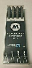 Hobby Molotow Blackliner Pen Permanent Marker Set #2 Size- .3 .5 .7 1.0 mm