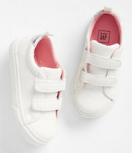 Baby Gap NWT Rose Gold / White Strappy Faux Leather Slip-On Sneakers 5 6 7 $35