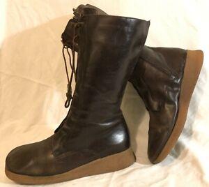 Mandolesi Dark Brown Mid Calf Leather Boots Size 39 (452QQ)
