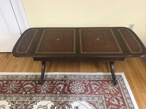 Heritage Henredon Drop Leaf Table with tooled leather c.1950