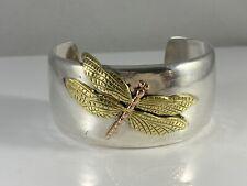 Tiffany & Co Sterling Silver 18k Gold Dragonfly Cuff Bracelet 61 Grams