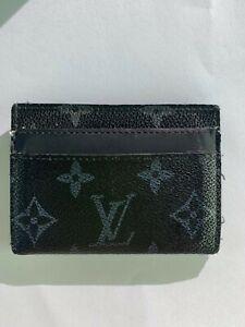 Auth Louis Vuitton Card Wallet Monogram Eclipse Canvas Mens M62170