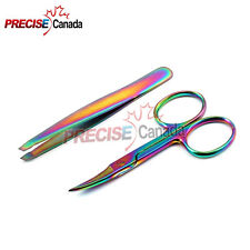 PC Slant Tweezers Eyebrow & Cuticle Nail Scissors Multi Color Facial Beauty Tool