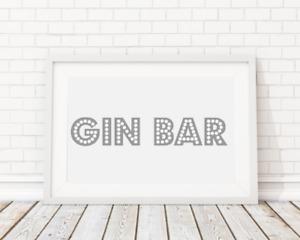 Gin Bar Poster Print Picture Home Bar Grey A4 PR3