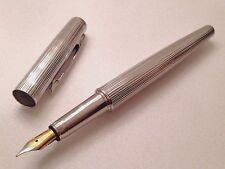 Laban Platinum Fountain Pen 18K Gold Nib Blue Ink w/ Velvet Pouch