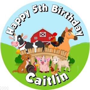 """Farm Animals , 7.5"""" , 2"""" , 1.5"""" ROUND EDIBLE ICING PRINTED CAKE TOPPER"""