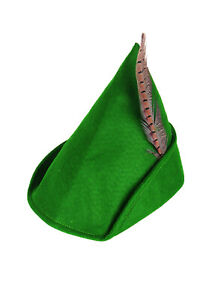 Adults Fancy Dress Green Robin Hood Hat Peter Pan Cap Feather Medieval Bycocket