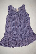 Womens NAVY BLUE & LAVENDER SHEER DRESSY TOP w/ CAMI Ruffled Tiered SIZE S 4-6