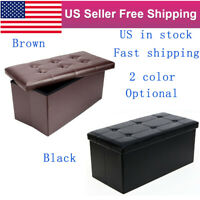 Faux Leather Folding Storage Ottoman Bench Footrest Bed Bench End W/Padded Seat