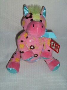 "Ganz Pink Floral Flowers Cutie Horse Sitter Plush Stuffed Animal Toy NWT 9"""