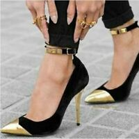 Womens Ankle Strap High Heels Metal Pointed Toe Pumps Fashion Buckle Party Shoes