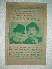 LAUREL HARDY SAPS SEA/TROUBLE SHOOTERS RARE ADVERTISEMENT FLYERS INDIA BOMBAY