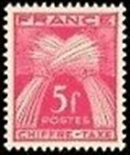 """FRANCE STAMP TIMBRE TAXE N° 75 """" TYPE GERBES 5F ROSE-LILAS """" NEUF xx LUXE"""