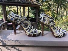 Calvin Klein Kasandra Cage Zip Strappy Tan Patent Peep Toe Snake Heels Sz 7.5